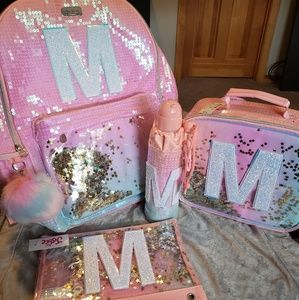 New Ombre Sequin Initial Backpack Bundle